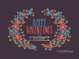 Stylish text Happy Valentines Day with flowers decoration on purple background, can be used as poster or banner design.