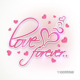Shiny pink text Love Forever with heart shapes on grey background for Happy Valentines Day celebration.