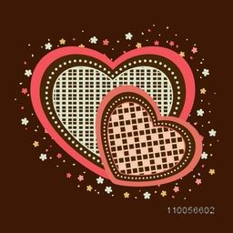 Elegant greeting card design with creative hearts shape surrounded by flowers for Happy Valentines Day celebration.