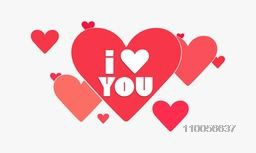 Happy Valentine's Day celebration with text I Love You on red hearts decorated white background.