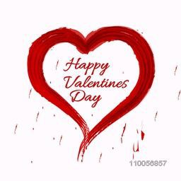 Greeting card design with text Happy Valentine's Day in a heart shape paint stroke.