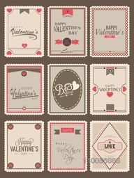 Collection of love vintage postage stamps for Happy Valentines Day celebration.