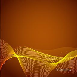 Abstract brown background with yellow flowing waves.