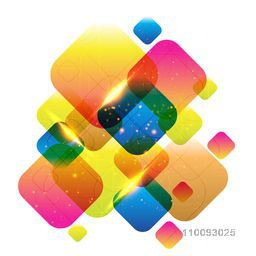 Abstract geometric background with colorful squares and lens flare effect.