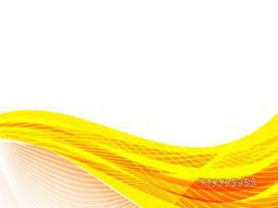 Yellow and orange abstract waves on white background.