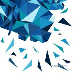 3D blue polygonal or geometric triangular abstract element with burst effect.