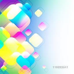 Glossy colorful squares on abstract background.