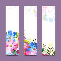 Artistic website banner set decorated with pink and blue watercolor flowers.