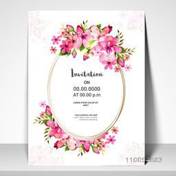 Pink Flowers decorated Invitation Card or Greeting Card design for Wedding, Anniversary, Birthday, Festivals and other occasions.