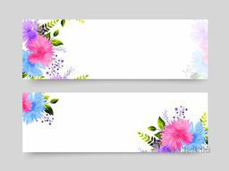 Website headers with colorful watercolor flowers decoration.