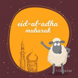 Eid-Al-Adha Mubarak background with mosque and sheep. Poster, banner or flyer for Festival of Sacrifice celebration.