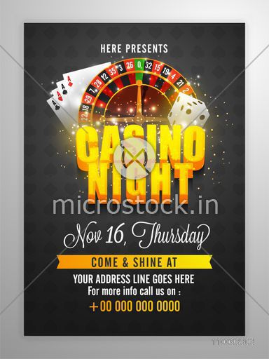 Casino Night Flyer, Template with 3D lettering, Roulette Wheel, Playing Cards and Dice elements.