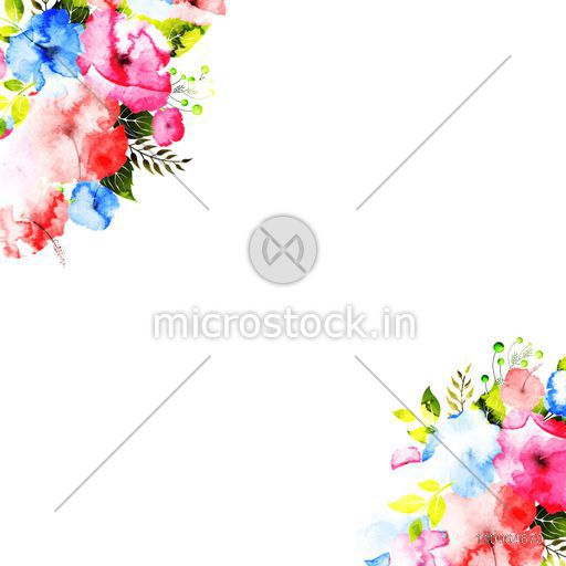 Colorful watercolor flowers decorated background. Can be used as greeting card or invitation card design.