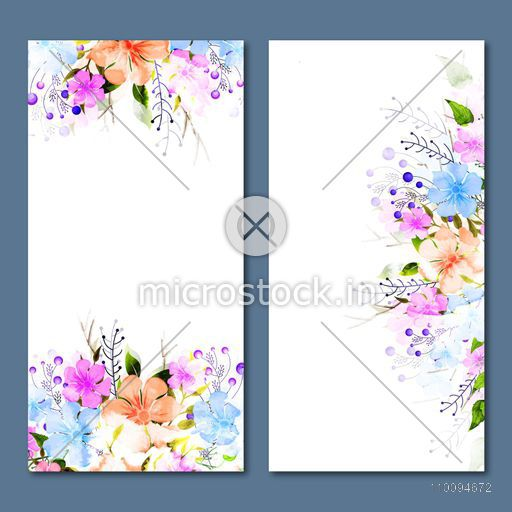 Social Media banners template design with colorful flowers decoration.