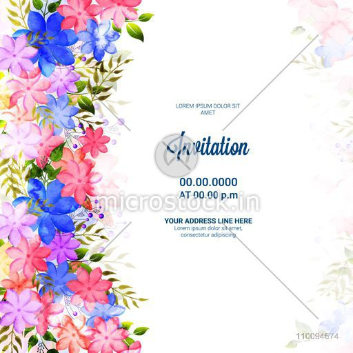 Beautiful Invitation Card design decorated with colorful watercolor flowers and green leaves.