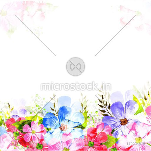 Colorful watercolor flowers decorated background. Can be used as Artisic Invitation Card or Greeting Card design.