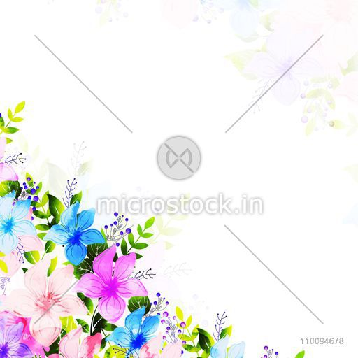 Colorful watercolor flowers and green leaves decorated background. Can be used as Greeting Card or Invitation Card design.