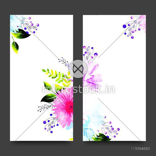 Invitation Card template with colorful watercolor flowers. Artistic website banners set with floral element.