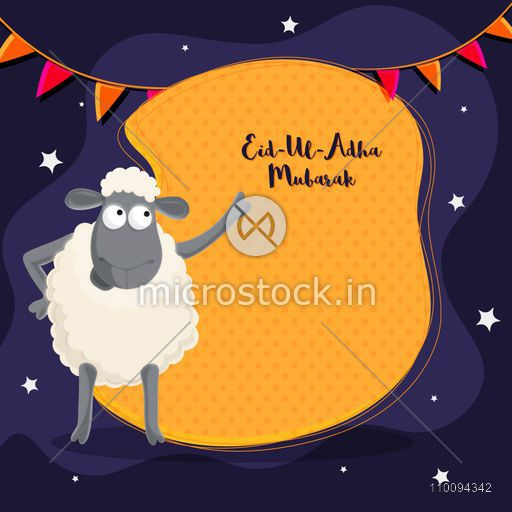 Eid-Ul-Adha Mubarak poster, banner or flyer design with cartoon sheep, bunting flags and white stars decoration.