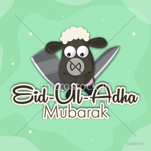 Paper Text Eid-Ul-Adha Mubarak with sheep face and knives, Can be used as poster, banner or flyer design.