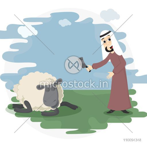 Islamic Festival of Sacrifice, Eid-Al-Adha celebration concept with illustration of Arabian Man holding knife and sheep.