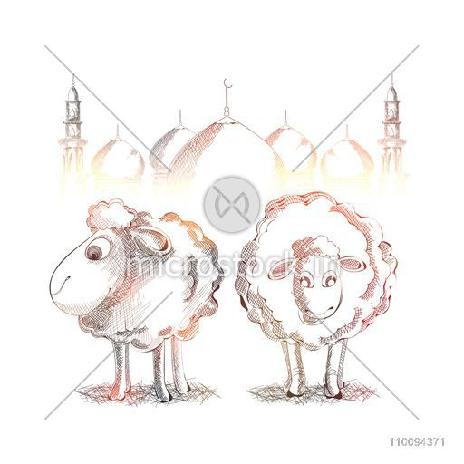 Shiny sketch of goats and mosque for Islamic Festival of Sacrifice, Eid-Al-Adha celebration.